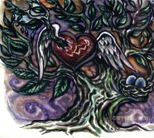 tree heart watercolor by cannibol