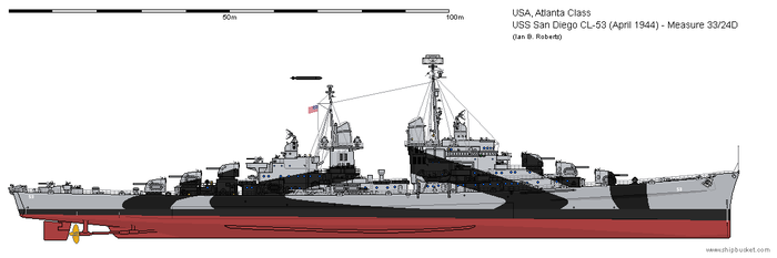 USS San Diego CL-53 (April 1944) - Ms33/24D by ColosseumSB