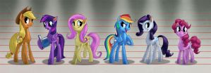 Mane 6 Height Comparison by Ruffu