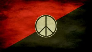red and black flag with peace sign [1920x1080] by moshuka