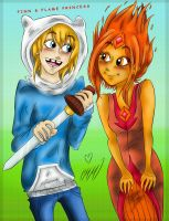 .Finn and Flame Princess. by MikiMonster
