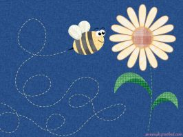 Bee-Flower-Denim Wallpaper by aneesah