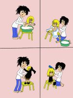 L and baby Mello (comix) by Dunglap