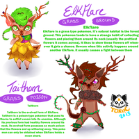 Pokemon Elkflare and Taithorn by ToxiicPandawolf