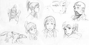 Sketches 20 - Korra and co by Azizla