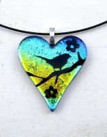 Fused Glass Heart Bird in the Blossoms Necklace by FusedElegance