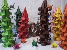 origami rainbow forest by kamui487