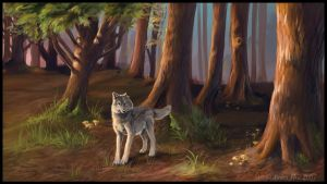 Wolf and Chanterelles by vantid