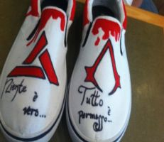 Assassin's Creed Shoe Dedication by DeadPoet4lyfe