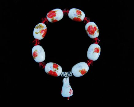 Red Flower Bunny Bracelet by Cillana