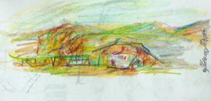House and hills. Sketch by imramianna