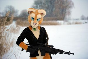 Lioness with a Big Gun by basil-lion