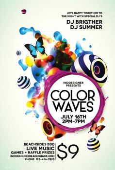 Color Waves Flyer by inddesigner
