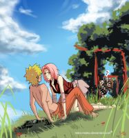 NaruSaku on the hill by neko-miako