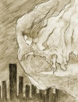 over the city pencil by Otai