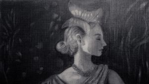 A girl on silk dress (Detail) - Charcoal sketch by JPerezS