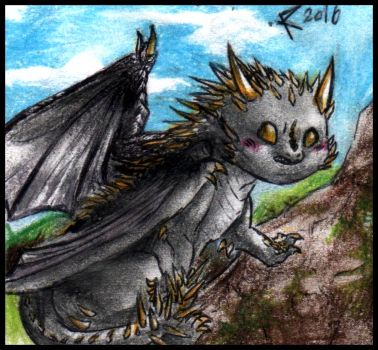 Chibi Dictionary of magic - The Hungarian horntail by FuriarossaAndMimma