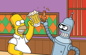 Homer and Bender - Drinking by sircle