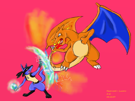 Charizard Lucario battle by MidnightCharizard