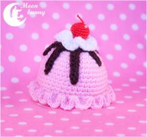 Strawberry ice cream Crochet hairclip by CuteMoonbunny