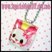 Kawaii Bunny Glass Pendant by SugarAndSpiceDIY