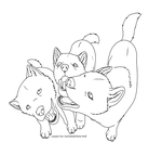Three wolf pups - free lineart by Onif