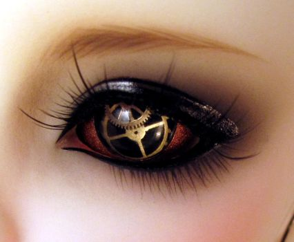 Steampunk doll eyes real gears by ersaflora