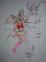 Sailor Chibimoon and Peruru by moonstruck26