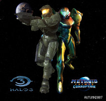 Metroid3  Halo3 release poster by KingOfCreation
