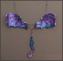 Violet Cobalt Dragon Wings - Leather Necklace by windfalcon
