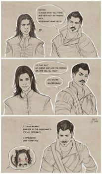 Scenes from Dorian's amulet quest by slugette