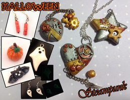 Halloween and Steampunk Charms for Sale! by octapuu