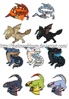 Monster hunter subs and rares chibis by thelimeofdoom