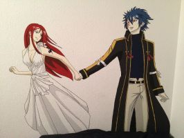 Wall painting of Erza and Jellal from Fairy Tail by Wulfos1
