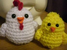 Chicken and Chick Amigurumi by Slowdance-Romance