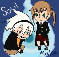 Soul and Maka-Soul Eater by x-LittleOne-x