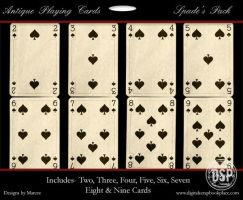 Antique Playing Cards Spades by duggar