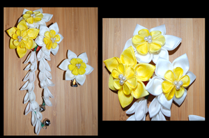 Ring Clear. Daffodil Kanzashi. by hanatsukuri