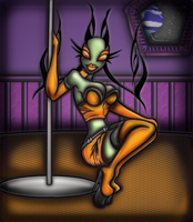 Orange Pinup In Space by Prepare-Your-Bladder