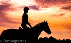 horse silhouette at sunset2 by dressageart13