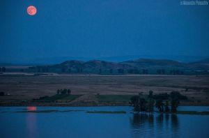 Supermoon,Macin mountains and the Danube by AlecsPS