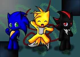 Sonic, Tails and Shadow Chibis by mephilesthedark