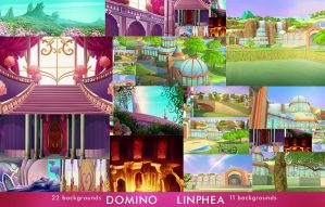 Domino and Linphea 33 backgrounds (Discount) by MishAir