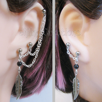 Black and Silver Feather Chain Earrings by merigreenleaf