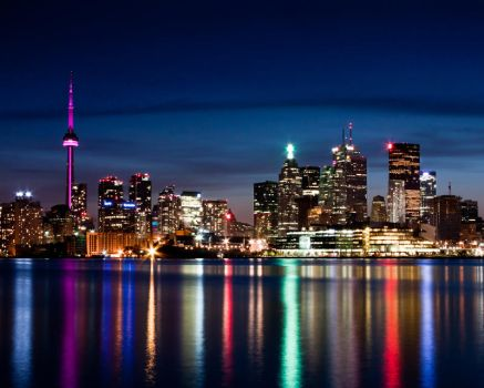 Toronto Skyline At Night From Polson St No 3 by thelearningcurve-da