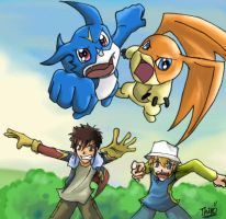 - Davis and TK with Digimon - by thiro