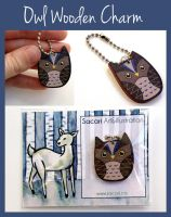 Owl Wooden Charm by Sacari