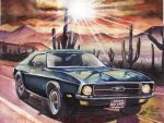 1971 Ford Mustang Desert Evening (Painting) by FastLaneIllustration