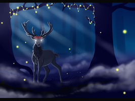 In The Blue Moonlight Stood The Raven Stag by Lluma