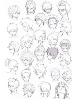 various hairstyles male by Komodo92Tenbinza